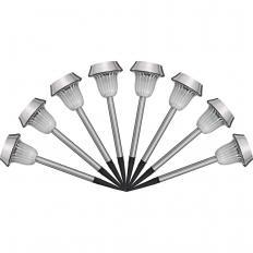 Lot de 8 lampes solaires en acier inoxydable