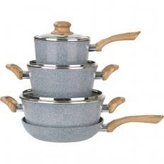Batterie de cuisine en céramique aspect granit Lot 7 pièces
