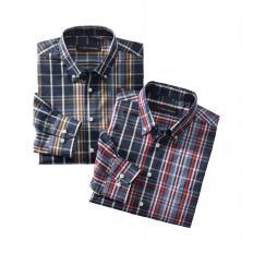Chemises à carreaux repassage facile, lot de 2
