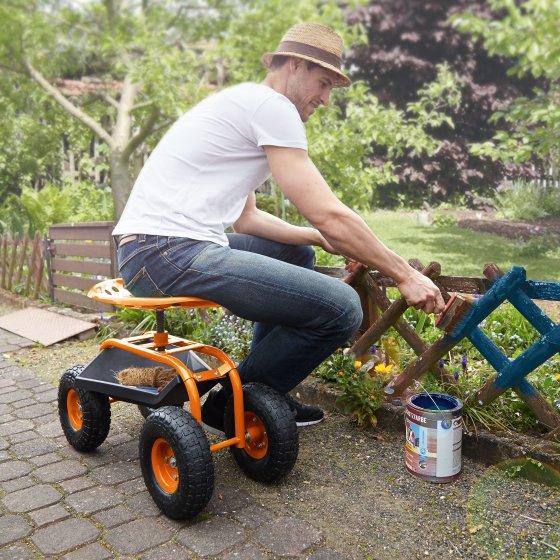Siège de jardinage mobile avec bac de rangement