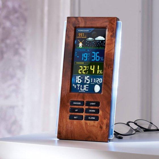 Station météo radio-pilotée aspect bois