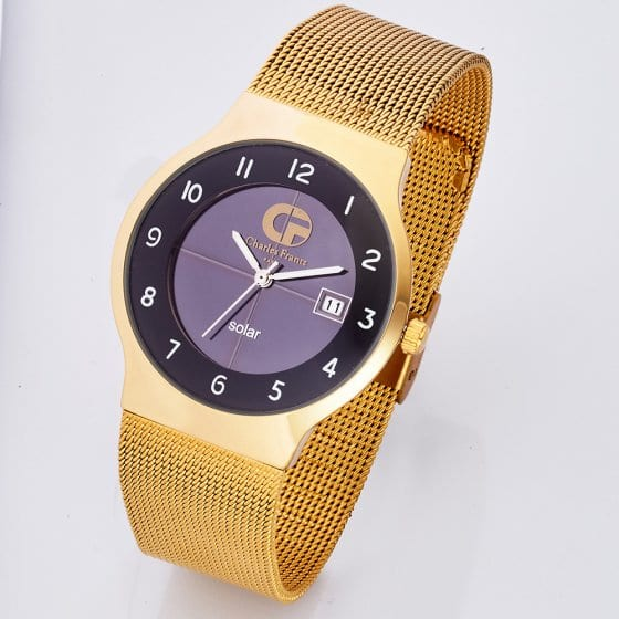 Montre plate solaire « Gold »