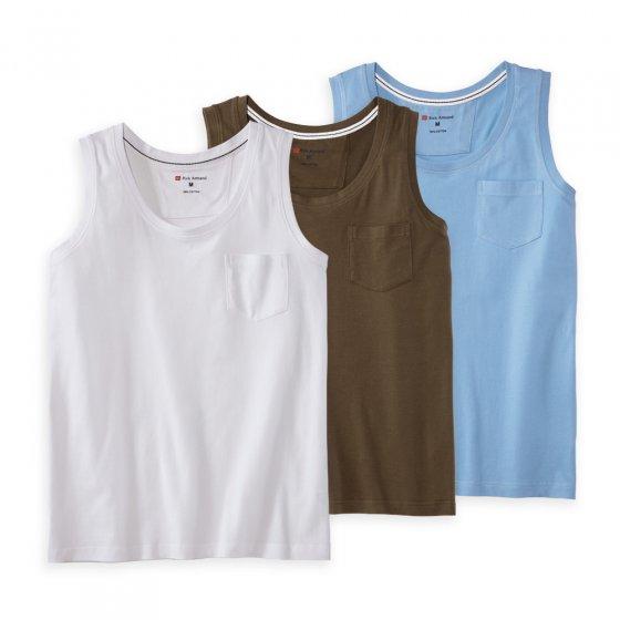 Débardeur en coton Par lot de 3 paires L   Blanc#Vertolive#Bleuclair