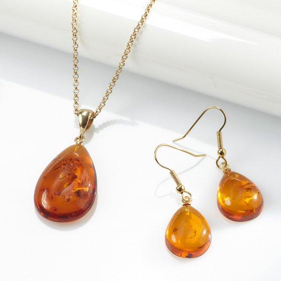 Collier avec pendentif d'ambre