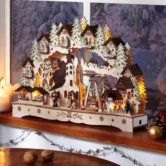 """Arche lumineuse à LED  """"Église en hiver"""""""