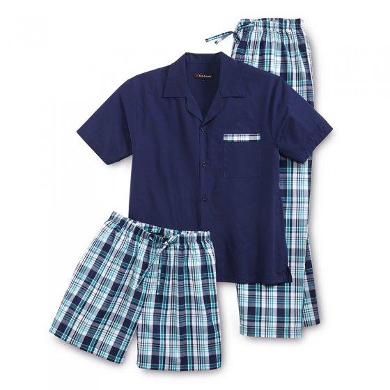 Pyjama d'été 3 pièces 3XL | Bleumarine-vert