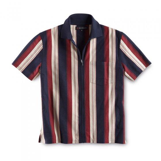 Polo avec zip continu XL | Marine-bleu