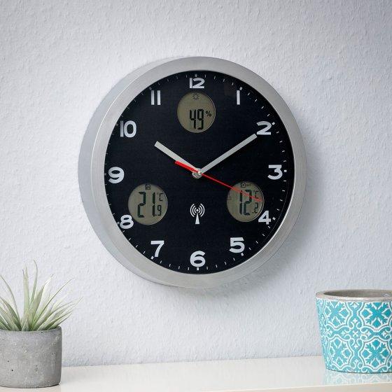 Horloge murale radio-pilotée, avec station météo
