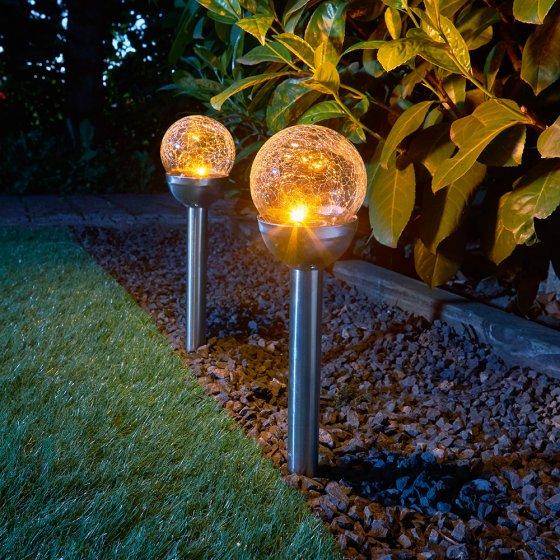 Lampes solaires en verre Lot de 2