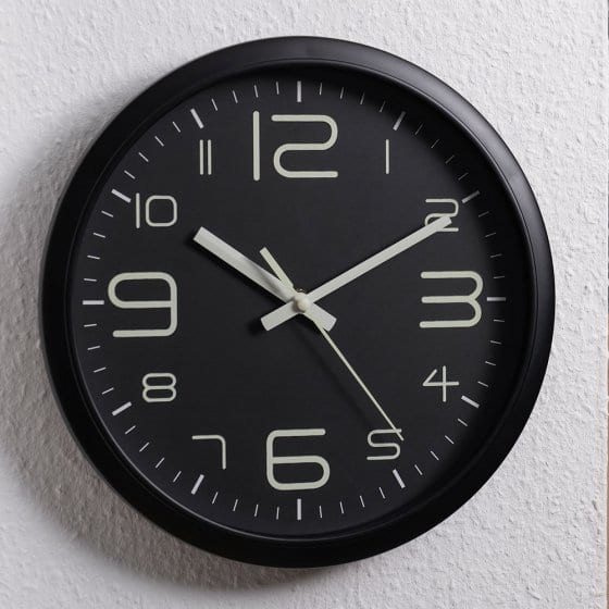 Horloge murale silencieuse luminescente