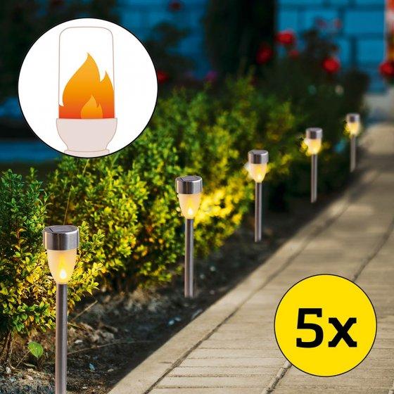 Lampes solaires à effet de flamme Lot de 5
