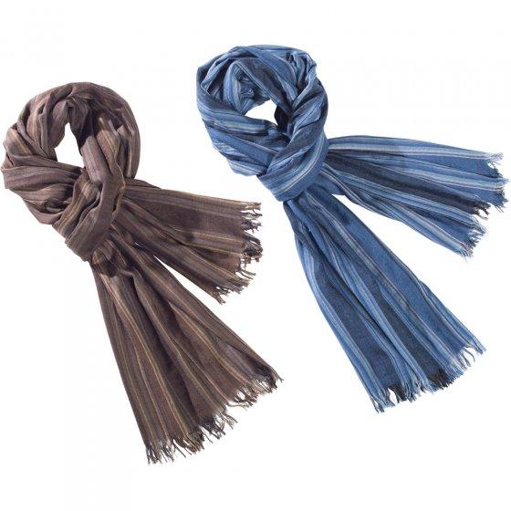 Foulard froissé,Lot bleu+marr.