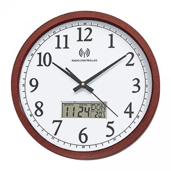 Horloge murale radio-pilotée aspect bois