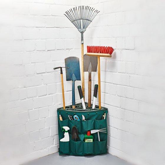 Râtelier d'angle pour outils de jardin