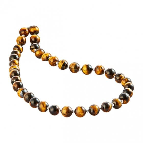 Collier œil de tigre avec perles d'argent
