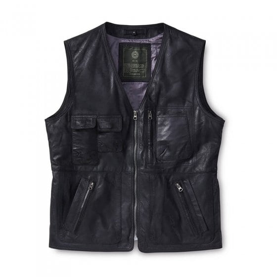 Gilet cuir multipoches