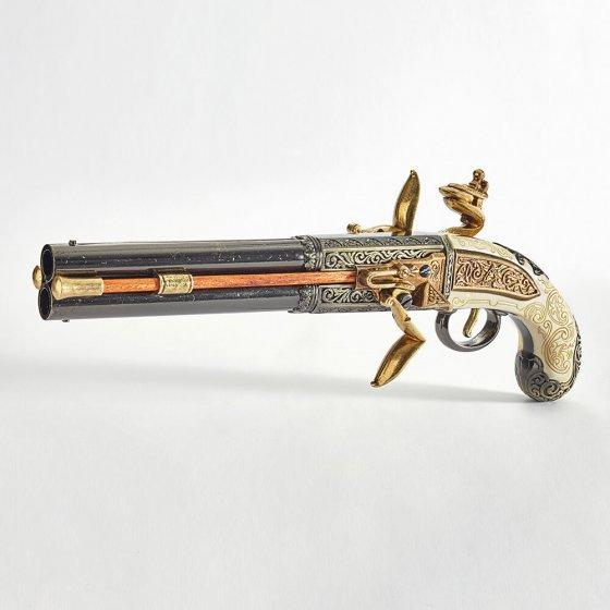 Pistolet anglais à double canon rotatif
