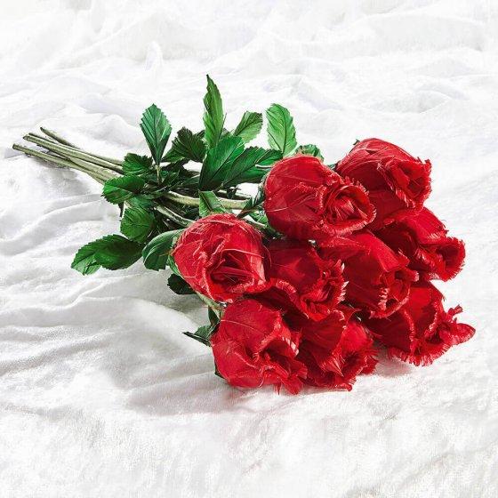 Roses en plumes d'oies fabriquées à la main