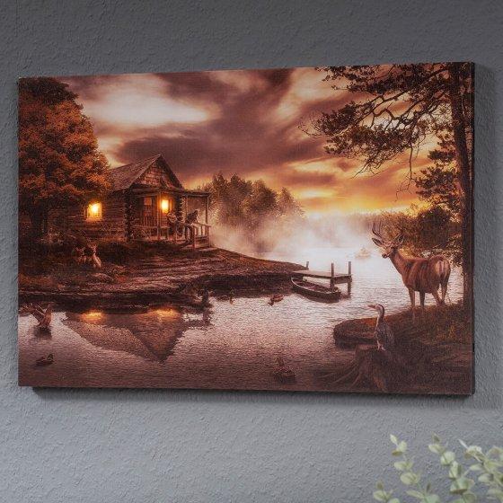 """Tableau mural LED  """"cabane en bord de lac"""""""