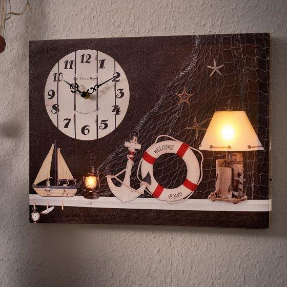 Tableau maritime LED avec horloge