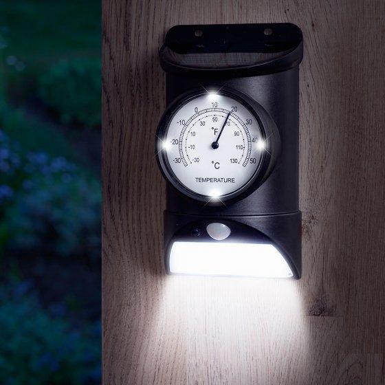Thermomètre d'extérieur avec lampe solaire