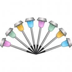Lot de 8 lampes solaires en acier inoxydable-2