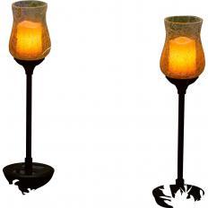 """Photophores solaires en verre """"bougies"""" Lot de 2 -2"""
