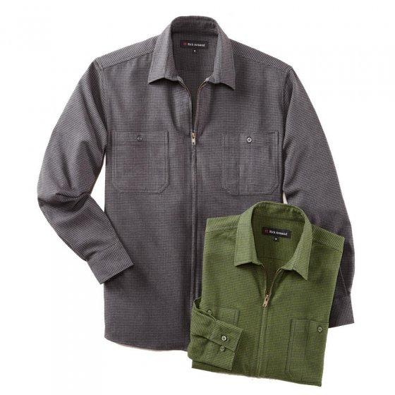 Chemise zippée en flanelle de coton
