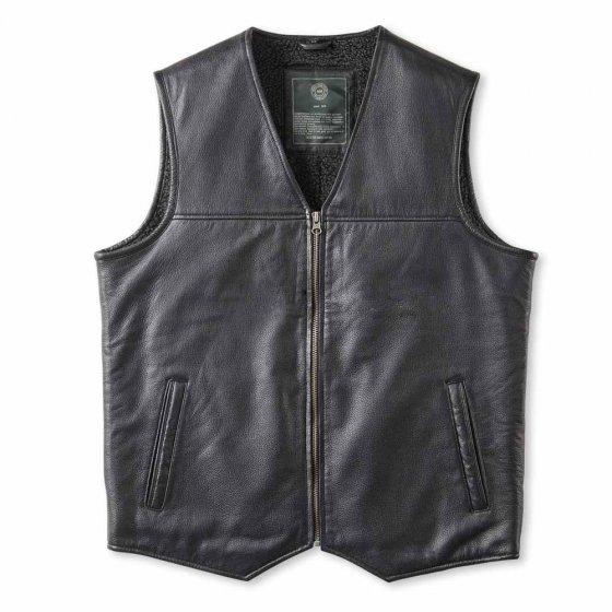 Veste cuir sans manche doublée de fourrure synthétique