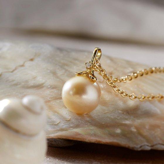Pendentif perle de culture or et diamant