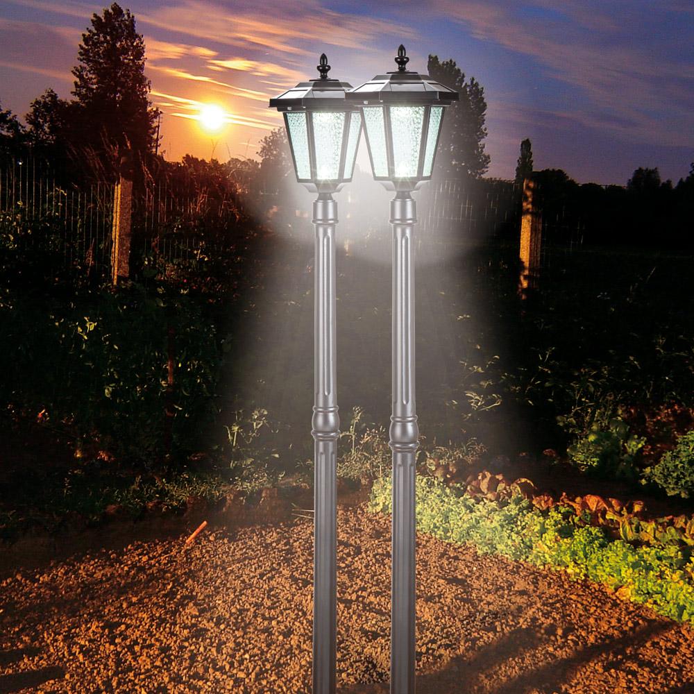 lampadaire de jardin nergie solaire lot de 2 1. Black Bedroom Furniture Sets. Home Design Ideas